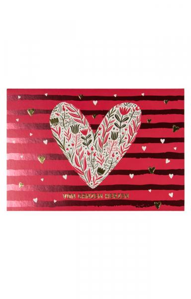 """Grußkarte """"Von ganzem Herzen"""" zum Valentinstag"""