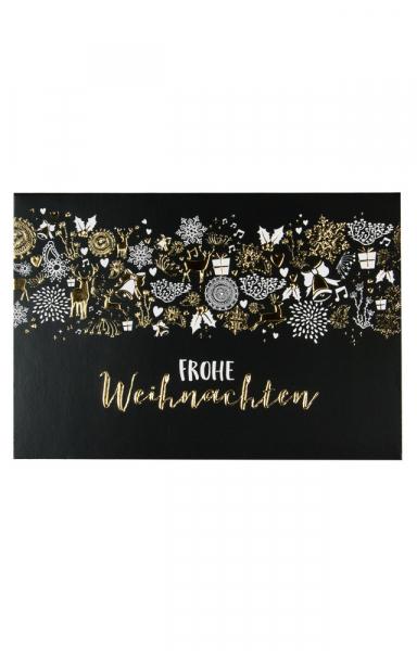 """Edle Weihnachtsgrußkarte Schwarz und Gold """"Frohe Weihnachten"""""""