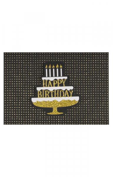 """Edle Geburtstagskarte in Schwarz & Gold """"Happy Birthday"""""""