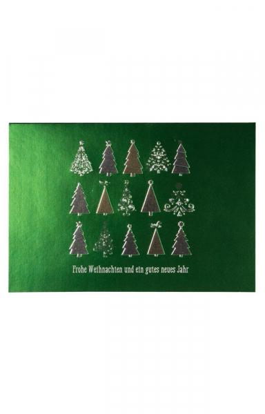 """Weihnachtskarte """"Oh Tannenbaum"""" Metallic Effekt Grün"""