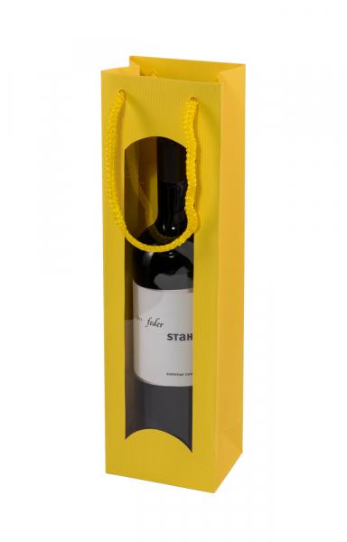 Geschenktasche für Wein Flaschen Gelb mit Fenster