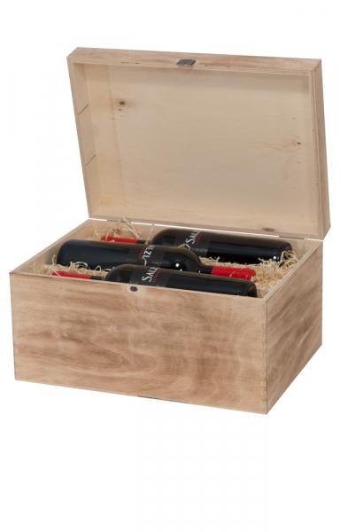 Edle Holzkiste für 6 Flaschen Wein Antik Look